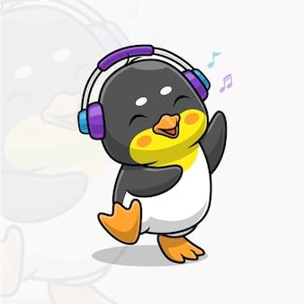 Śliczny taniec pingwina