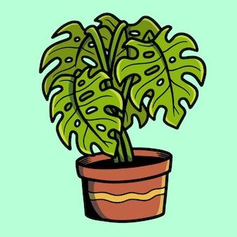 Śliczny tatuaż monstera deliciosa plant old school