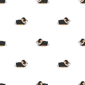 Śliczny tricolor corgi psa działający kreskówka bezszwowy wzór