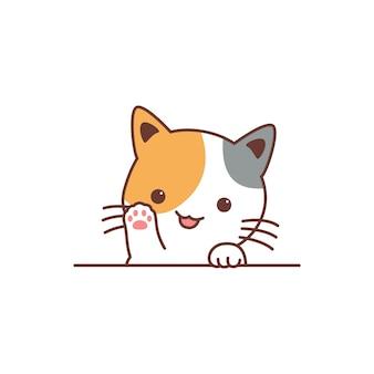 Śliczny Trójkolorowy Kot Macha łapą Kreskówka Premium Wektorów
