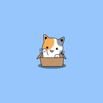 Śliczny trójkolorowy kot macha łapą w pudełku kreskówki