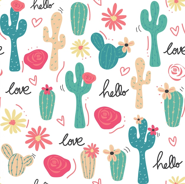 Śliczny tropikalny kaktusowy ręka rysujący wzór bezszwowy