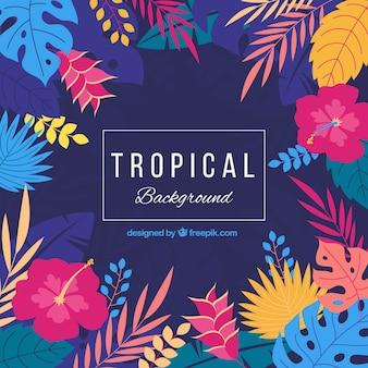 Śliczny tropikalny tło z płaskim projektem