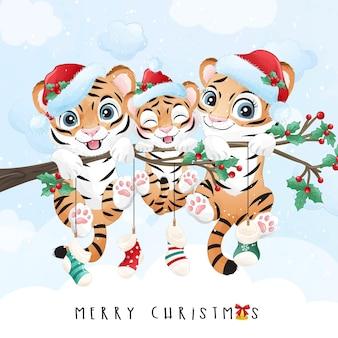 Śliczny tygrys doodle na wesołą ilustrację świąteczną
