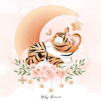 Śliczny tygrys doodle z ilustracją akwareli