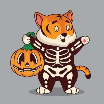 Śliczny tygrys kostium halloween ilustracja kreskówka