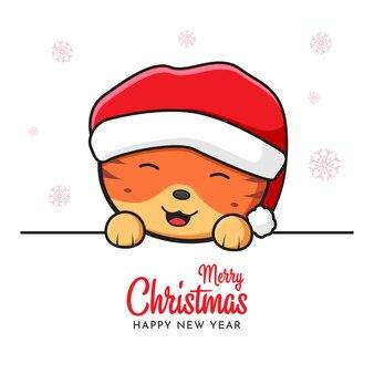 Śliczny tygrys pozdrowienie wesołych świąt i szczęśliwego nowego roku kreskówka doodle ilustracja tło karty