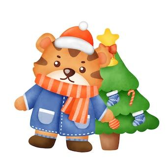 Śliczny tygrys z elementami świątecznymi w stylu przypominającym akwarele na kartkę z życzeniami nowego roku.