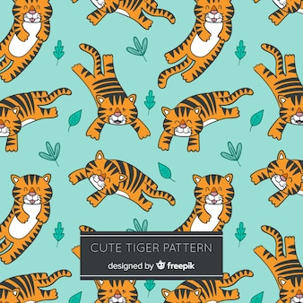 Śliczny tygrys z liści wzorem