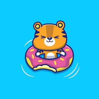Śliczny tygrys z pływanie pierścionku ikony ilustracją. zwierzęce lato ikony pojęcie odizolowywający. płaski styl kreskówek