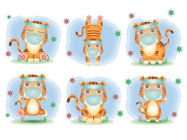 Śliczny tygrys za pomocą osłony twarzy i kolekcji masek