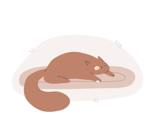 Śliczny uroczy brązowy kot śpi na poduszce lub dywanie płaska ilustracja kreskówka wektor
