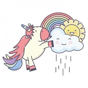 Śliczny uroczy jednorożec z chmurami deszczowymi i tęczą