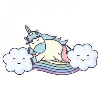 Śliczny uroczy jednorożec z chmurami i tęczą