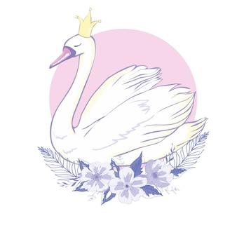 Śliczny uroczy princess łabędź, ilustracja