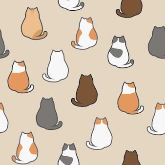 Śliczny Uroczy śmieszny Kot Siedzi Z Powrotem Zwierząt Kreskówki Bezszwowego Deseniowego Tapetowego Tło Premium Wektorów