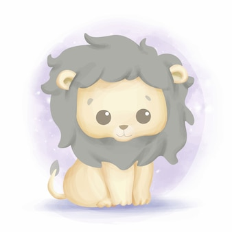 Śliczny uśmiech dziecka lwa akwarela