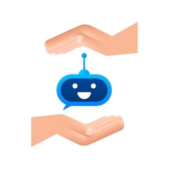 Śliczny uśmiechający się robot w rękachwektorowa nowoczesna ilustracja kreskówka płaska