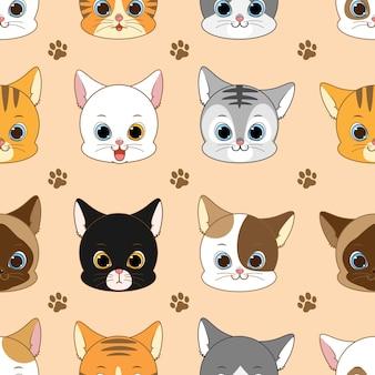 Śliczny uśmiechnięty kot głowy bezszwowy wzór, wektorowa ilustracja