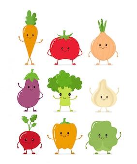 Śliczny uśmiechnięty surowego warzywa scollection