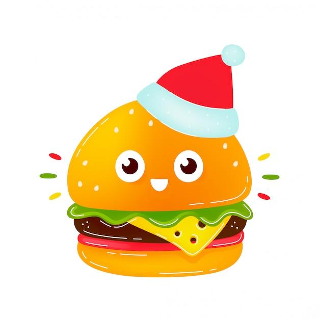 Śliczny uśmiechnięty szczęśliwy hamburger w bożych narodzeniach kapeluszowych