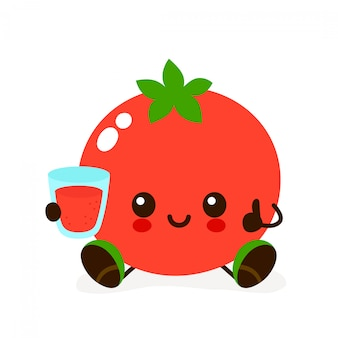 Śliczny uśmiechnięty szczęśliwy pomidor z szklanką soku.