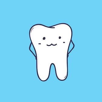 Śliczny uśmiechnięty ząb trzonowy. urocza maskotka lub zabawny symbol kliniki dentystycznej lub centrum ortodontycznego.