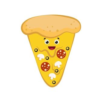 Śliczny uśmiechnięty zabawny kawałek pizzy kreskówka kolorowy design dobry do projektowania menu ilustracja wektorowa