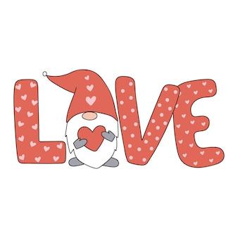Śliczny valentine gnome z napisem miłość ilustracja wektorowa w stylu skandynawskim styl kreskówki