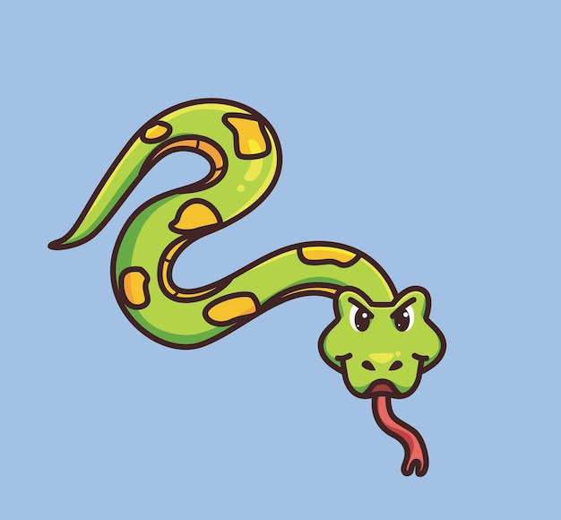 Śliczny wąż pełzający po ziemi. koncepcja kreskówka natura zwierząt ilustracja na białym tle. płaski styl nadaje się do naklejki icon design premium logo vector. postać maskotki