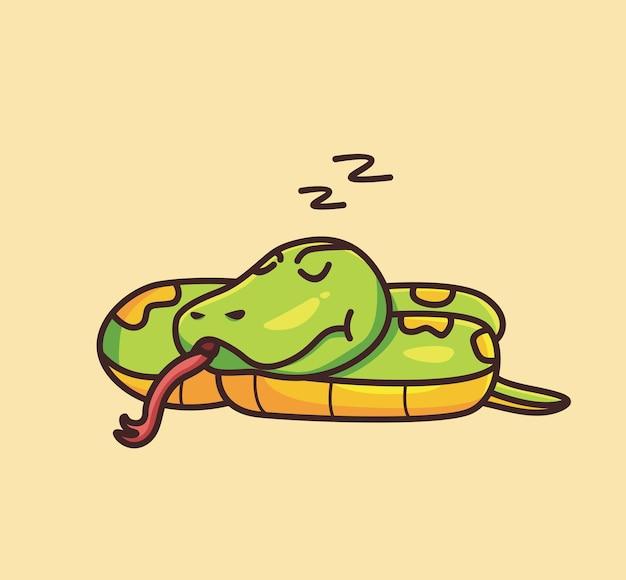 Śliczny wąż śpi na ziemi. koncepcja kreskówka natura zwierząt ilustracja na białym tle. płaski styl nadaje się do naklejki icon design premium logo vector. postać maskotki
