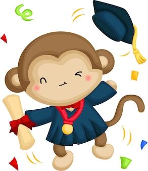 Śliczny wektor małpy maskotka ukończenia szkoły