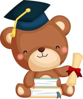 Śliczny wektor niedźwiedzia maskotka ukończenia szkoły
