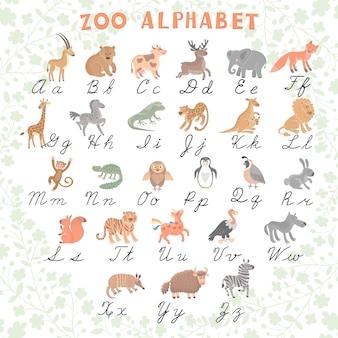 Śliczny wektorowy zoo abecadło. śmieszne zwierzęta kreskówek. listy. nauczyć się czytać i pisać.