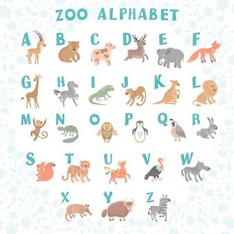 Śliczny wektorowy zoo abecadło. śmieszne zwierzęta kreskówek. listy