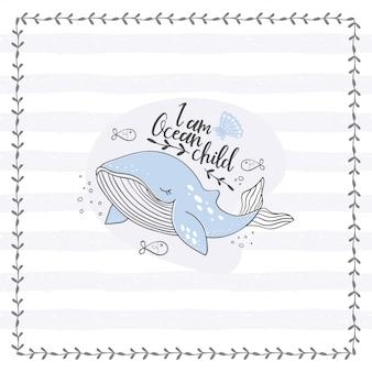 Śliczny wieloryb doodle plakat. ręcznie rysowane oceanu zwierząt