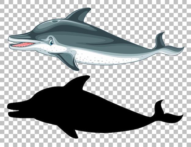 Śliczny wieloryb i jego sylwetka na przezroczystym