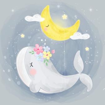 Śliczny wieloryb i księżyc