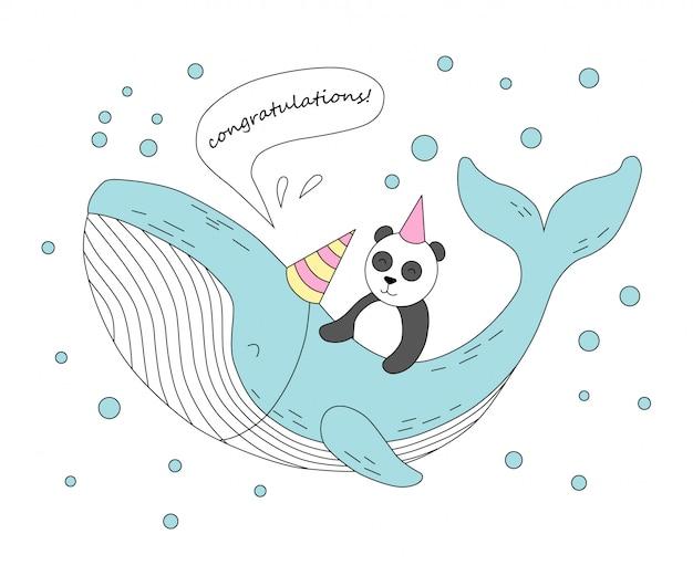 Śliczny wieloryb i panda. gratulacje.