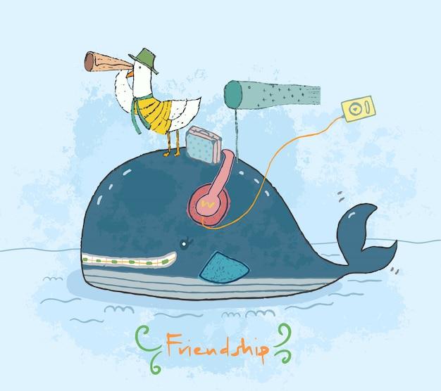 Śliczny wieloryb kreskówka i mewa podróżujący razem jako przyjaźń.