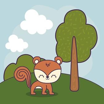 Śliczny wiewiórka w krajobrazowej scenie