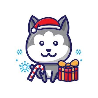 Śliczny wilk świąteczny projekt