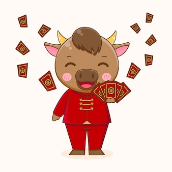 Śliczny wół dzielący angpao, szczęśliwego chińskiego nowego roku