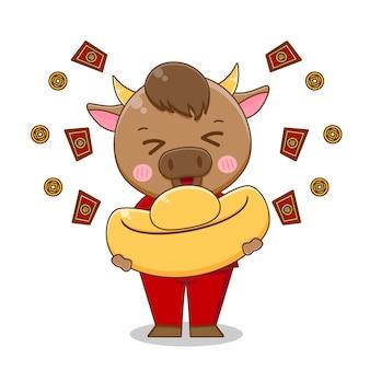 Śliczny wół przynosi sztabkę złota, szczęśliwego chińskiego nowego roku
