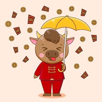 Śliczny wół z parasolem deszczem monet i angpao szczęśliwego chińskiego nowego roku