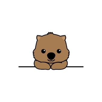 Śliczny wombat uśmiechnięty na ścianie kreskówki