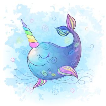Śliczny, wspaniały wieloryb jednorożca. akwarela.