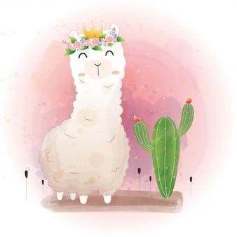 Śliczny wzór lamy z kaktusem.