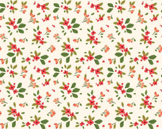 Śliczny wzór w małe czerwone kwiatki. białe tło. kwiatowy wzór.
