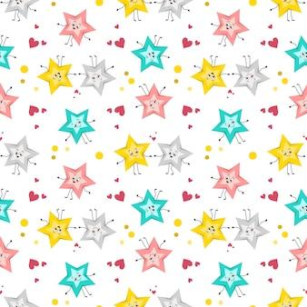 Śliczny wzór w zakochane gwiazdki z wesołymi twarzami radosne oczy nadruk ramion i nóg z...